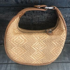 Cole Haan Straw Wicket Leather Purse
